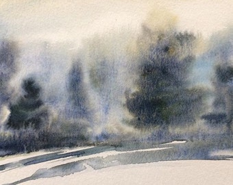 Watercolor trees, misty trees, Misty landscape, Misty pines, forest, Pacific Northwest, Tree painting, tree watercolor