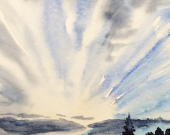 Cloud painting, Sky painting, cloud watercolor, Sky watercolor, landscape watercolor, landscape painting, dawn Sky, urban landscape, urban