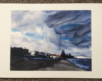 Alki beach,  Alki, West Seattle, storm painting, Seattle painting, Seattle Art, Sky painting, Seattle watercolor, beach painting, Alki print