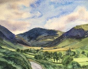 Lake District, Newlands Valley, Cumbria, English landscape, English mountains, England, English watercolor, landscape watercolor, valley