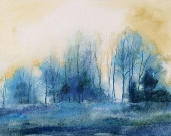 Misty trees, Misty trees in field, Misty landscape, Misty morning, Misty field, field painting, winter trees, winter trees in field