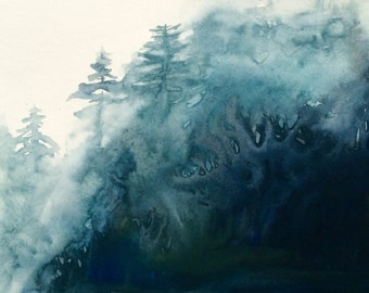 Forest painting, forest watercolor, Misty forest, Misty trees, Misty landscape, tree painting, pine trees, watercolor trees, landscape,trees