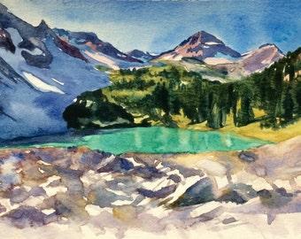 Mountain painting, Lewis lake, North Cascades, Northwest landscape, Pacific Northwest, Washington, Northwest art, landscape watercolor