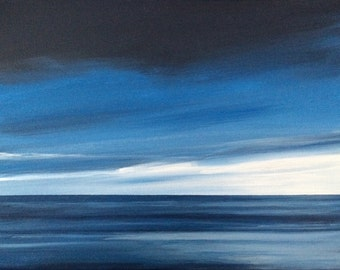 Sea painting, Sky painting, blue painting, landscape painting, contemporary painting, minimal landscape, abstraction, acrylic painting,