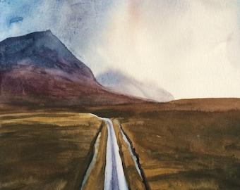 Scotland landscape, Glen Etive, Scottish landscape, Watercolor painting, Scottish mountains, Scottish highlands, Scottish watercolor