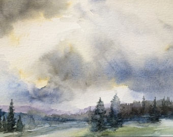 cloud painting, landscape painting,rainy day,pine trees, Landscape watercolor, storm clouds, storm cloud art, misty trees, Pacific Northwest