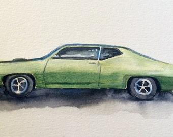 Torino Cobra, muscle car, car art, American car, car watercolor, car painting