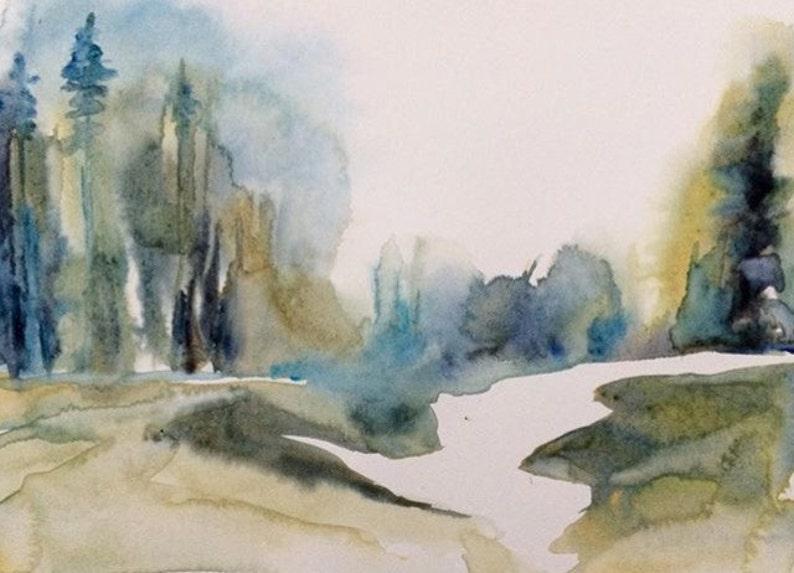 Acquerello alberi boschivi dipinto astratto paesaggio etsy