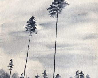 Pine trees, watercolor trees, tree watercolor, pine tree painting, tree painting, overcast skies, tree landscape, landscape painting, pines