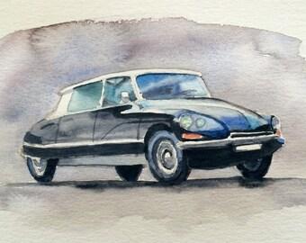 Citroen DS, Car painting, vintage l car painting