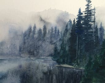Landscape painting, Pacific Northwest, Misty lake painting, Alpine lakes, Misty pine trees, watercolor landscape, Misty mountain lake,Pines
