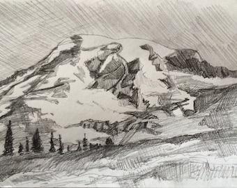 Mount Rainier, landscape drawing, Rainier, mountain, pencil drawing mountains, landscape, pencil drawing, Northwest, Pacific Northwest art