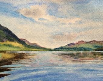Lake District, Crummock water, Cumbria, mountain lake, mountain painting, English landscape, lake reflection, lake painting, landscape art