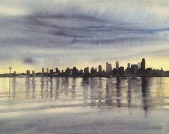 Seattle skyline, Seattle skyline print, Seattle print, west Seattle, puget sound, Seattle watercolor, Seattle Art, west Seattle print,