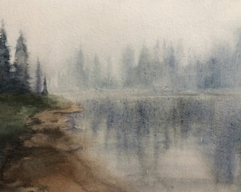 Pacific Northwest, landscape painting, watercolor painting, Misty landscape, alpine lakes, Misty mountain lake, PNW art, northwest landscape