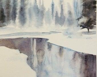 watercolor landscape, watercolor trees, winter landscape, pine trees, River painting, pine tree painting, large landscape print, Montana