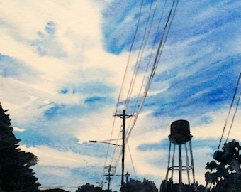 Watercolor landscape, Tennessee painting, water tower, Sky painting, sunrise, urban painting, silhouette landscape, blue sky, street art