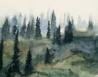 Pine tree painting, Misty trees, Watercolor trees, tree painting, Pacific Northwest, Misty pines, Misty landscape, landscape painting, firs
