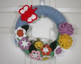 Handmade Spring or Summer Door Wreath- Butterfly- Flowers- Bee- Crochet