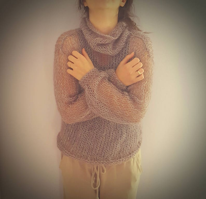 alpaca /& silk in many colors Kid mohair loose knitted sweater  jumper with neck Hand knitted gour seasons sweater made of kid mohair