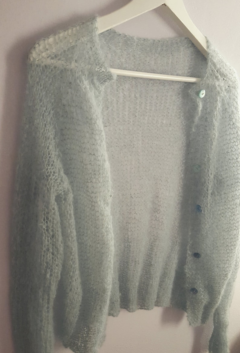 6c29ed216 Hand knitted alpaca cardigan   capelet. Handmade loose knitted