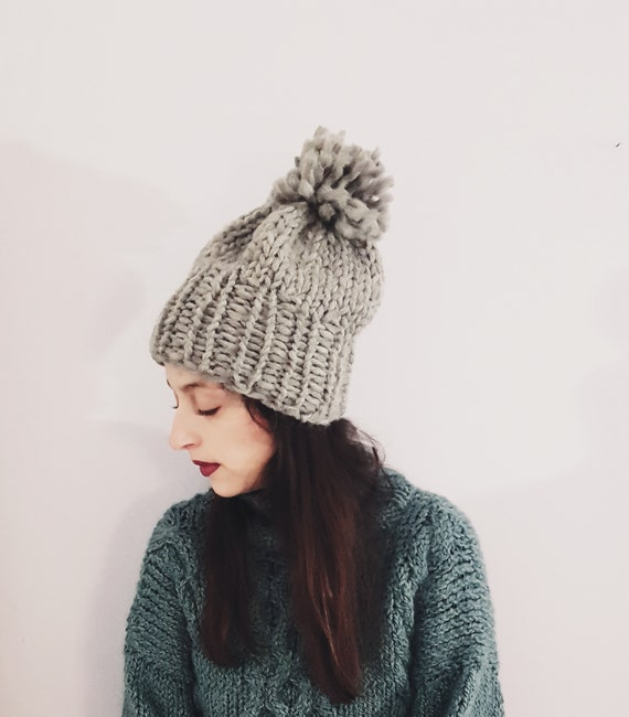5ef5387eab0 Hand knitted chunky beanie  hat with pom pom made by thick