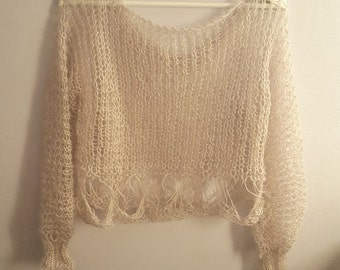 Oversized loose knitted alpaca sweater. Hand knitted oversized sweater made of soft alpaca & silk  yarn. Available in many colors.