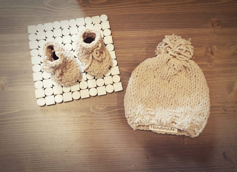 kids  and mom beanie  hat or set of baby  kids hat /& slippers made of super soft micropolyester yarn. Handmade super soft baby
