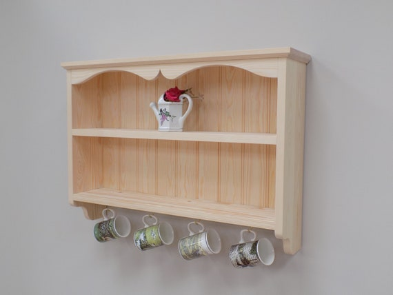 Kitchen Shelves. Pine Wall Shelf Unit. Kitchen Shelves with Hooks.