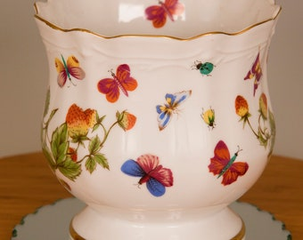 Ardalt Lenwile China Hand Painted Tea Coffee Cup Butterflies Strawberries NOS