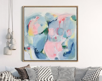 Abstract Art,  Abstract Giclee Print , Modern Abstract Print, Pink And Grey, Canvas Art Print, Contemporary Wall Art