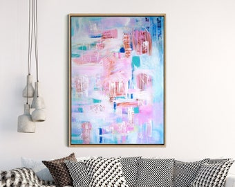 GICLEE PRINT, Pink Abstract Print of Original Acrylic Painting, Modern Art, Abstract Art Print, Pink Blue Abstract - Jaipur