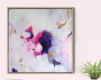 Abstract Painting Original, Pink Abstract Art, Abstract Canvas Painting, Original Painting, Contemporary Art, Wall Decor, FREE SHIPPING