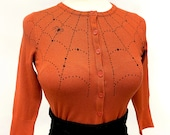 Spider web Cardigan in Dusty Orange size S,M,L,XL,2XL,3XL Sweater inspired By MISCHIEF MADE