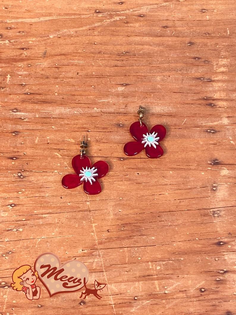 Red Flower Earrings  vintage style handmade by\u00a0Mew