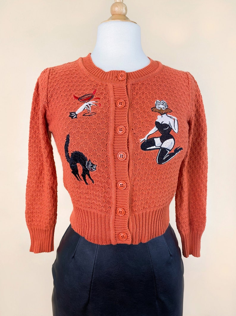 Vintage Sweaters, Retro Sweaters & Cardigan Bat Ghoul Cardigan in Dusty Orange size S M L XL Sweater Vintage inspired By MISCHIEF MADE $59.00 AT vintagedancer.com