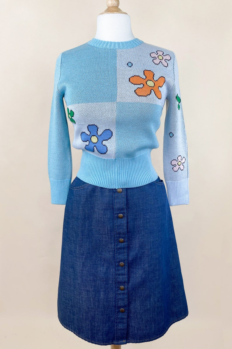 Vintage Sweaters & Cardigans: 1940s, 1950s, 1960s Power of Flower Sweater in Blue size S M L XL by Psycho Apparel size $139.00 AT vintagedancer.com