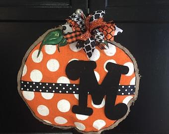 Fall, pumpkin, burlap, door hanger, fall door hanger, pumpkin door hanger, burlap door hanger, fall burlap door hanger, pumpkin burlap door