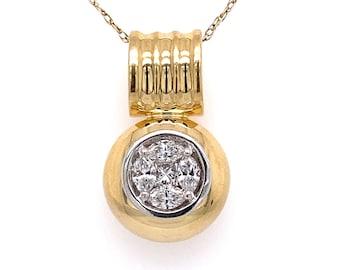 14k Two Tone Gold Diamond Pendant