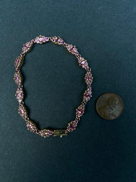 14k Yellow Gold Pink Sapphire Bracelet - image 7