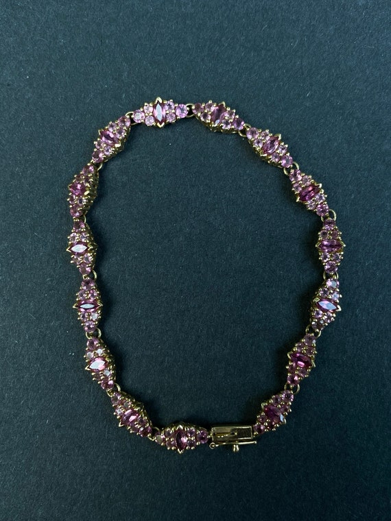 14k Yellow Gold Pink Sapphire Bracelet - image 5