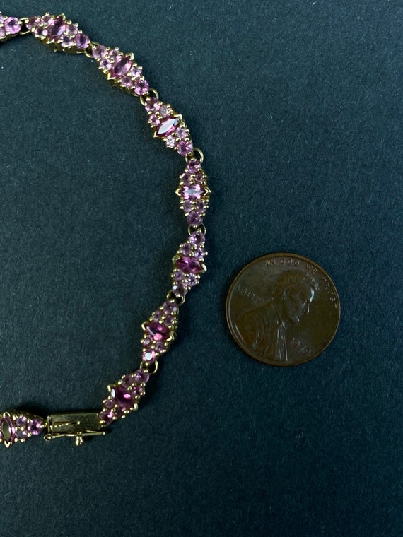 14k Yellow Gold Pink Sapphire Bracelet - image 8