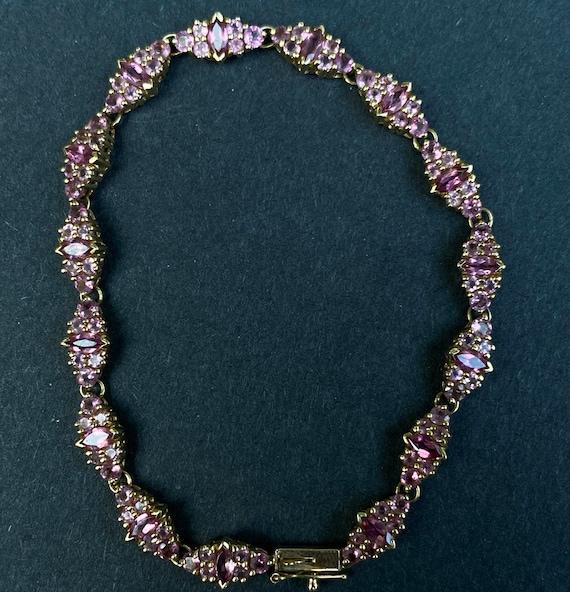 14k Yellow Gold Pink Sapphire Bracelet - image 2