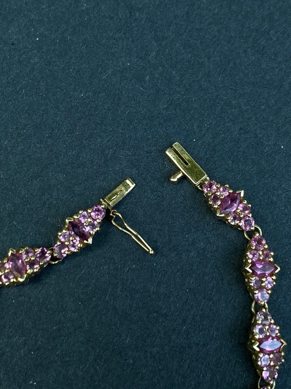 14k Yellow Gold Pink Sapphire Bracelet - image 6