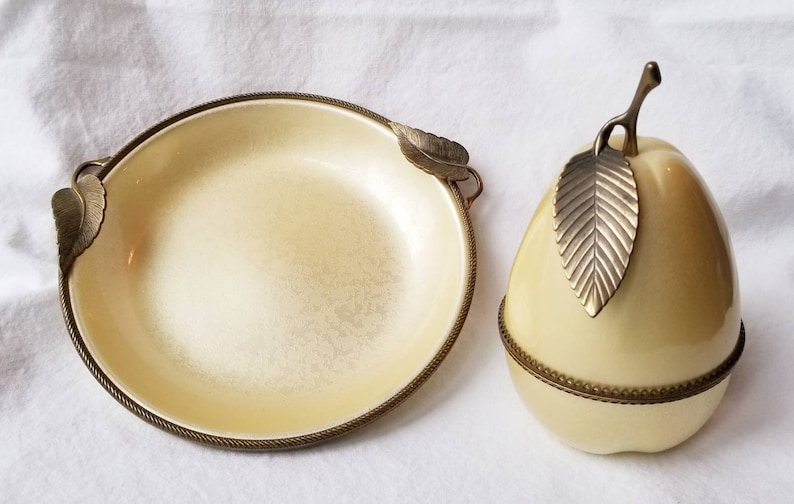 Vintage Evans Guilloche Pear Table Lighter and Ashtray 1950/'s Mid Century Hollywood Regency EXCELLENT CONDITION