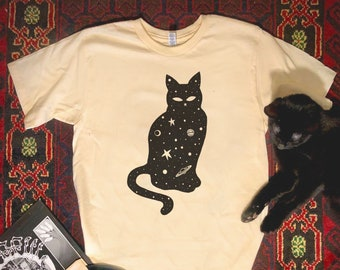 Black Cat T Shirt, Cosmic Black Cat Shirt, Black Cat Halloween Shirt, Stars and Moon Cat Shirt, UFO Shirt, Cat Lover Tee, Screen Print