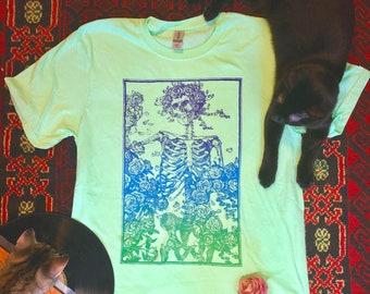 Vintage Bertha Grateful Dead Shirt, Grateful Dead Shirt, Skeleton and Roses Shirt, Bohemian Art Shirt, Classic Rock Shirt, Screen printed T