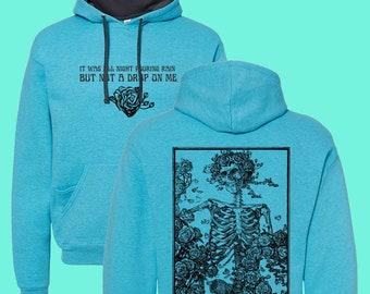 Grateful Dead Bertha Hoodie, Bertha Lyrics, Bohemian vibe hoodie, Vintage Grateful Dead Bertha Hoodie, Skeleton and Roses Hoodie, Handmade