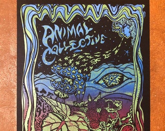 Animal Collective Poster, Animal Collective Asheville 9/6/21, Screen Printed Concert Poster, Hand made Screen print