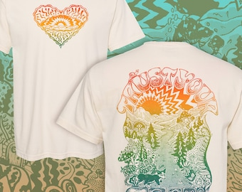 Trust Your Trail Shirt, Nature Lover Shirt, Hiking Shirt, Outdoors Shirt, Psychedelic Adventure, Handmade Vintage Style Rainbow Screen Print